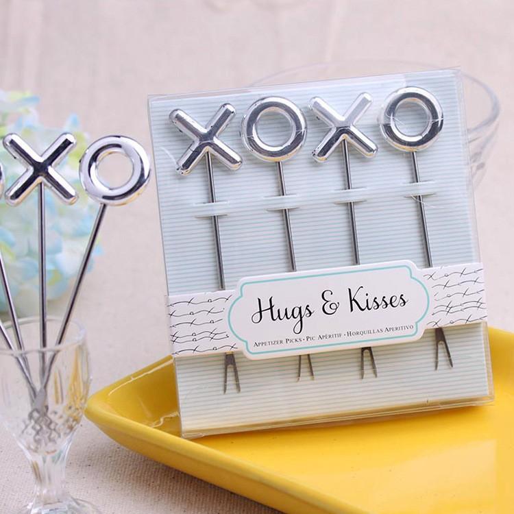 wedding party event favor gift for guests--Hugs & Kisses XO Stainless Steel Shape Metal fruit fork (1set=4pcs)80 sets/lot