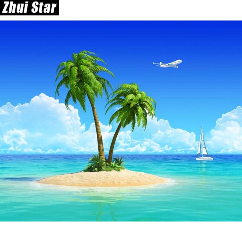 Алмазная картина Zhui Star Full квадратная дрель 5D, алмазная живопись «Пляж Гавайи», 3D вышивка, вышивка крестом, мозаичный декор в подарок, vip-
