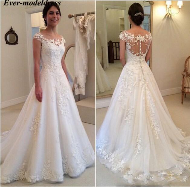 Vintage Wedding Dresses 2020 Cap Sleeves O-Neck Button Back Sweep Train Lace Appliques Bridal Gowns Plus Size Vestido De Noiva недорого
