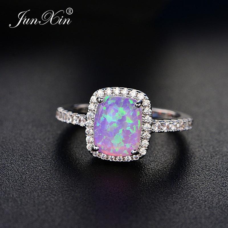 Мужское и женское кольцо JUNXIN, Винтажное кольцо с опаловым камнем синего/белого/зеленого/фиолетового цвета для свадьбы и помолвки