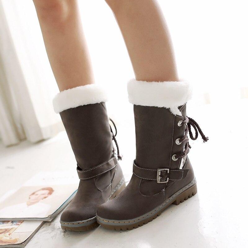 Las mujeres botas de nieve mid-calf de hebilla botas de invierno zapatos...