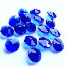 Perles en octogone de cristal bleu 14mm   500 pièces/lot, perles de verre en cristal bleu dans 2 trous pour brins de guirlandes en cristal, prix de gros, livraison gratuite