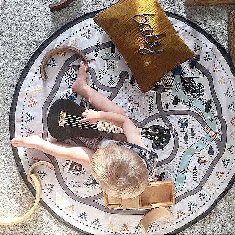 سجادة لعبة على شكل جرافيتي لغرفة الطفل ، لعبة ذكاء ، سهلة الحمل ، مستديرة ، كبيرة ، متينة ، للزحف ، بطانية