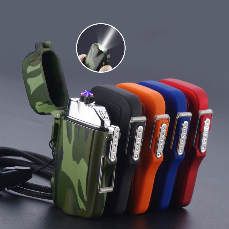 Outdoor Camouflage Waterproof USB Cigarette Lighter Electric Windproof Double Arc Pulse Plasma 2019New