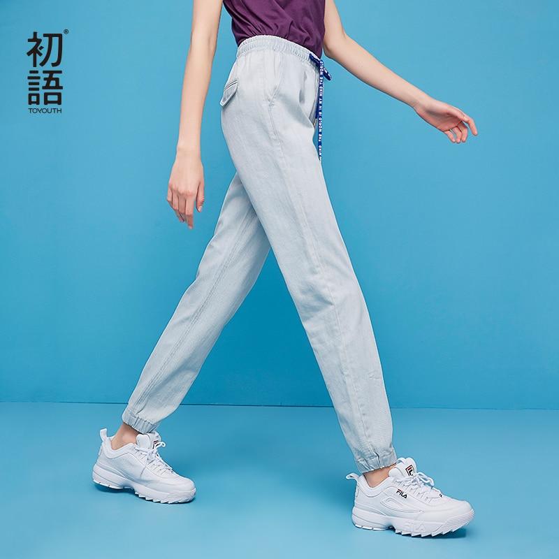 Toyouth 2018 летний корейский Slim Light синие джинсы Для женщин девять джинсовые штаны с эластичной резинкой на талии стильные шаровары