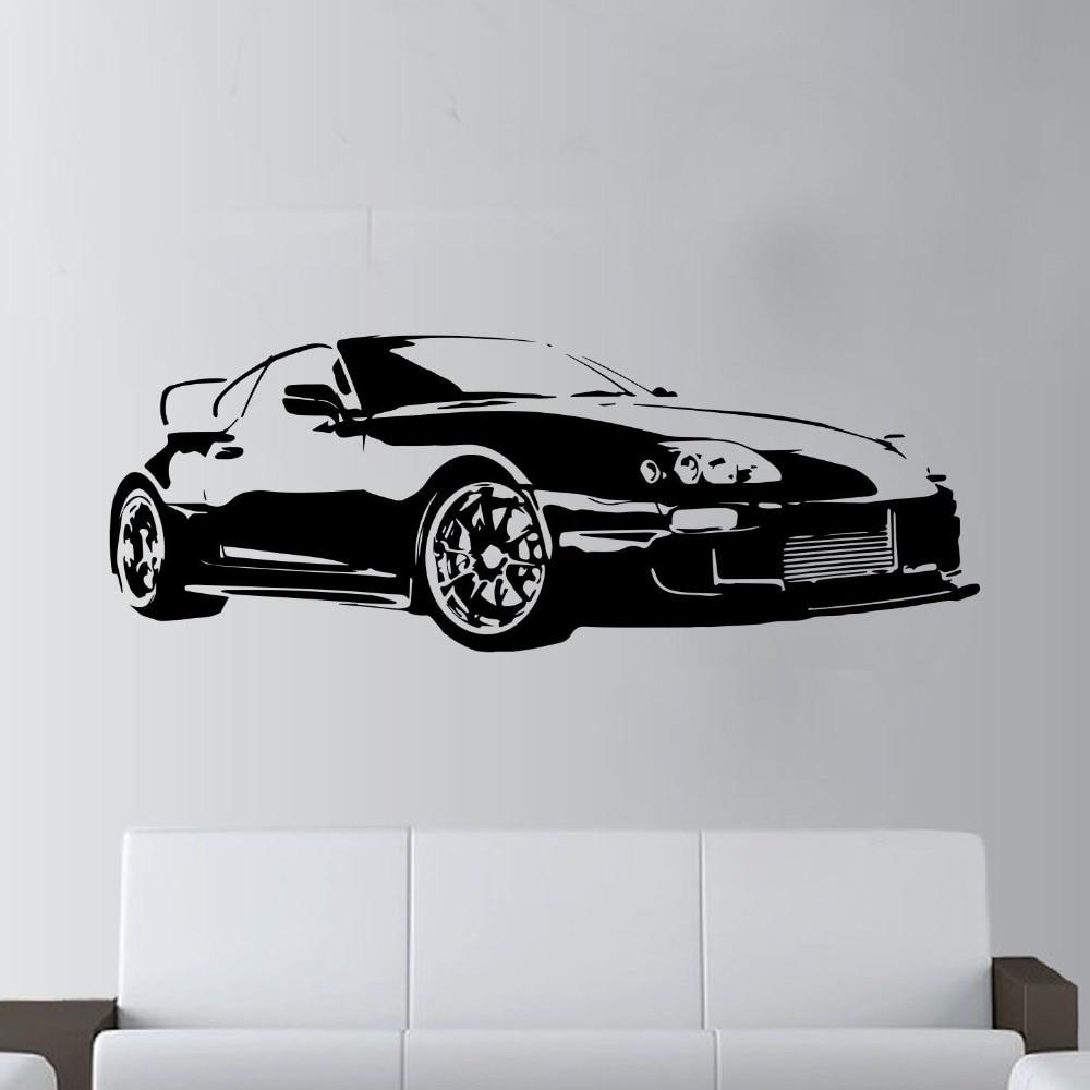 Large Car Supra Sports Super Car Decal Wall Art Decor Sticker for kids rooms Boys Living Bedroom Mural D797