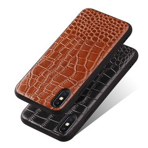 Genuine Leather Protective Case Back Leather Cover With Crocodile Pattern+TPU For iPhone X Case 5.8 inch