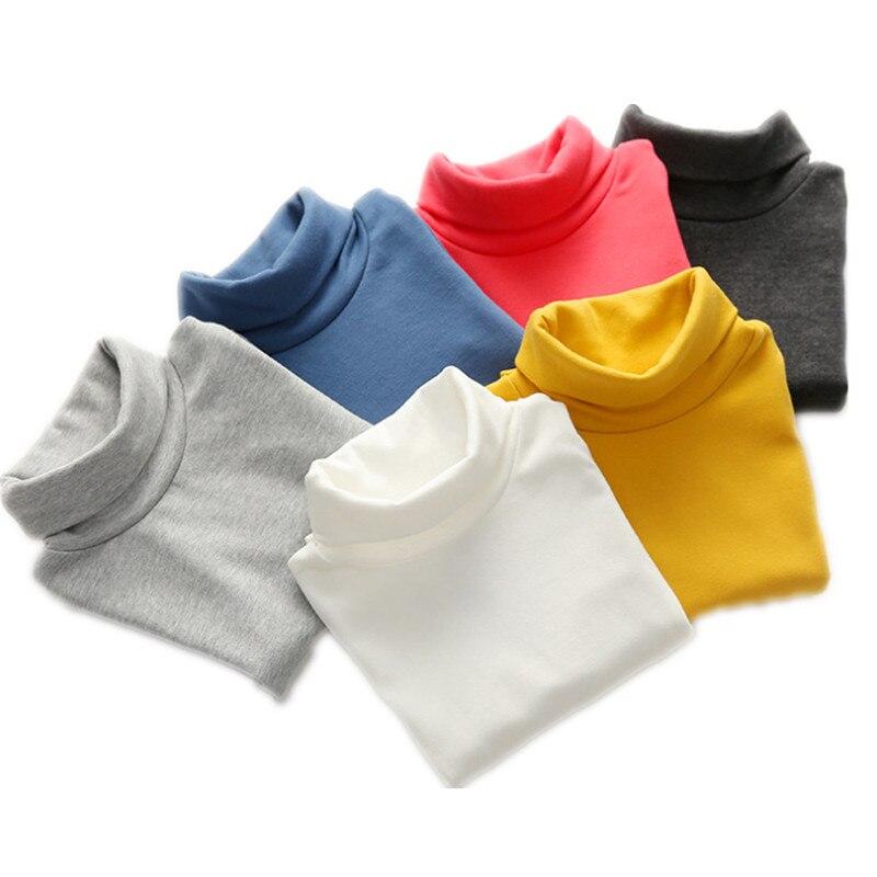 Suéter de cuello alto para niños Otoño Invierno 10 colores sólidos suéter para niñas jersey para niños camisa básica 2-10 años