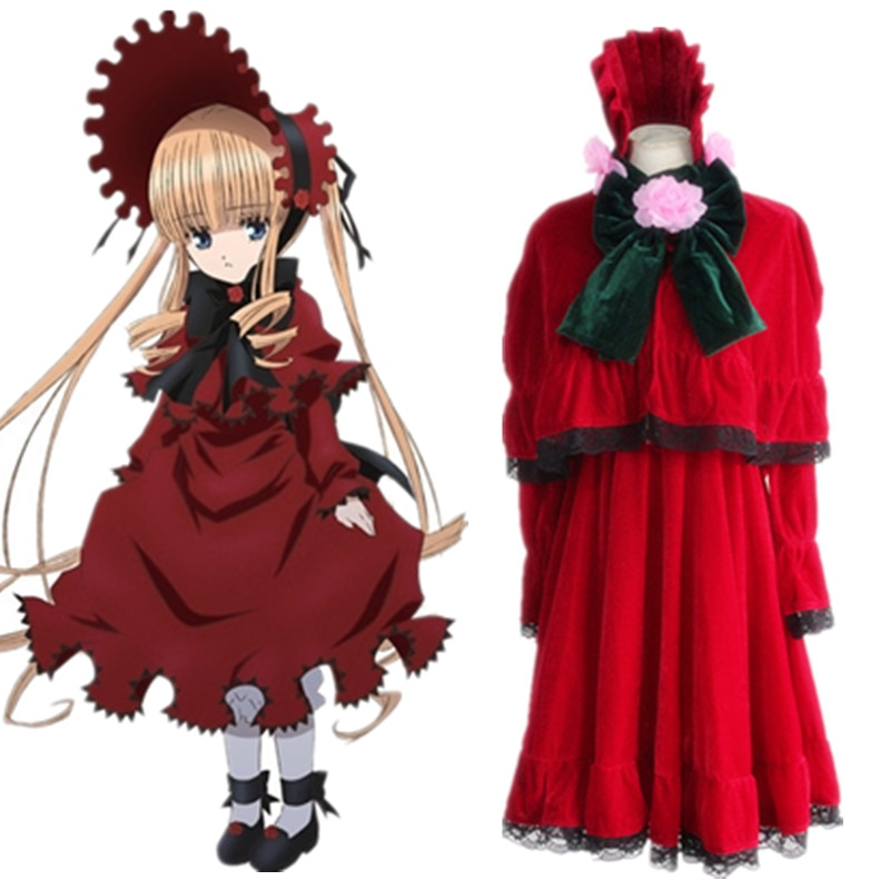 Anime Rozen Maiden cosplay Shin ku/Reiner Rubin cos festa de Halloween Lolita maid costume (Vestido + xale + calças + + mantilha agitação)