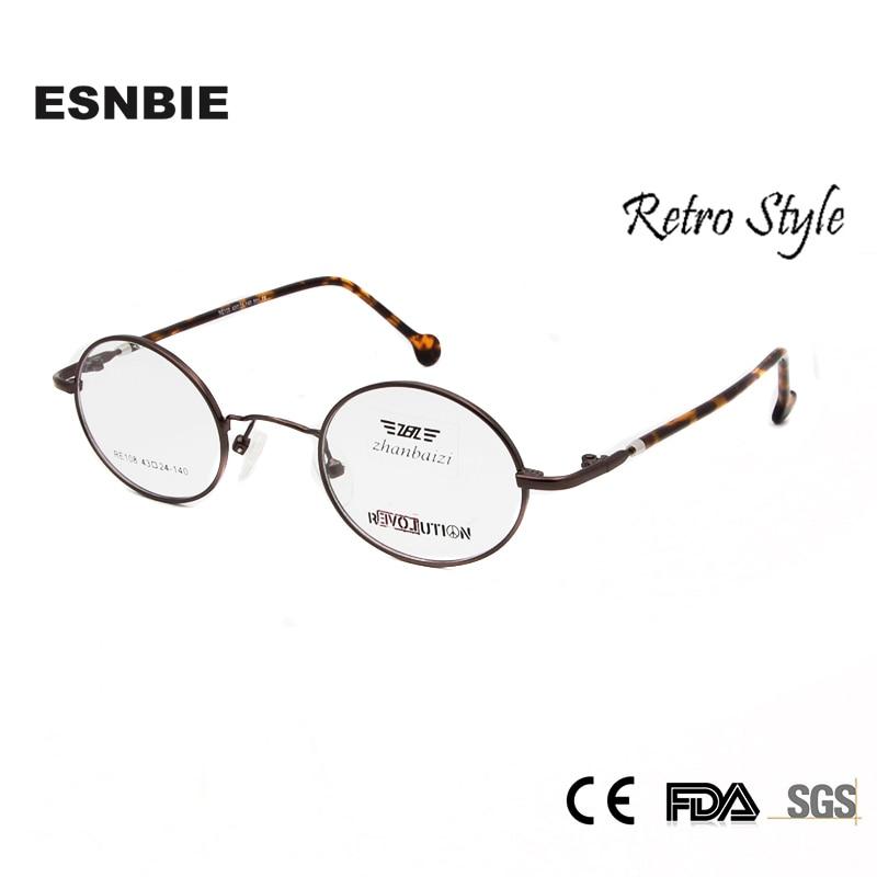 ESNBIE Vintage Eyeglasses Men Small Round Metal Eye Glasses Frames for Women Optical Glass Prescription Eyewear Oculos de grau