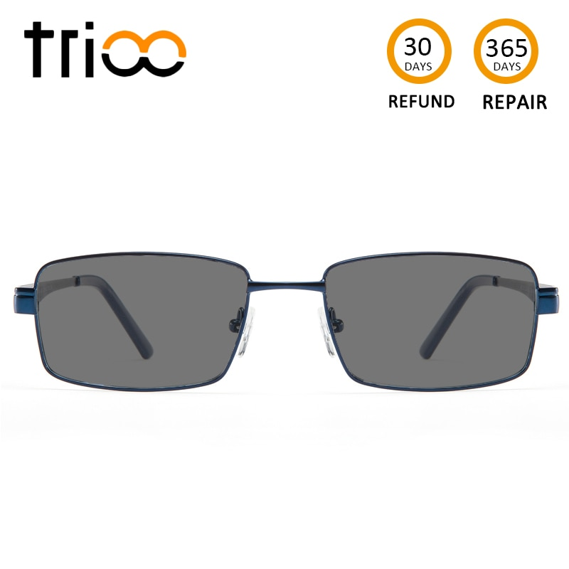 Gafas de sol TRIOO con diopters cuadradas negras de prescripción para hombre negro menos gafas polarizadas para gafas