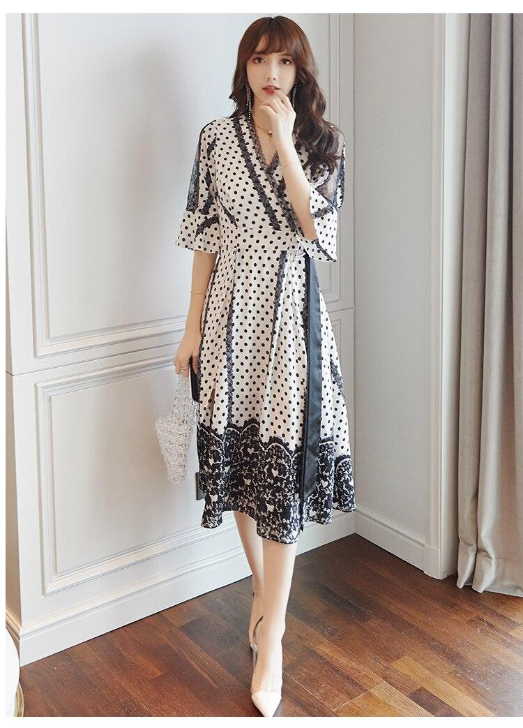 Korean Style Elegant Dot Chiffon Dress Flare Sleeve V-neck Split Midi Dress Women Summer Ladies Dresses