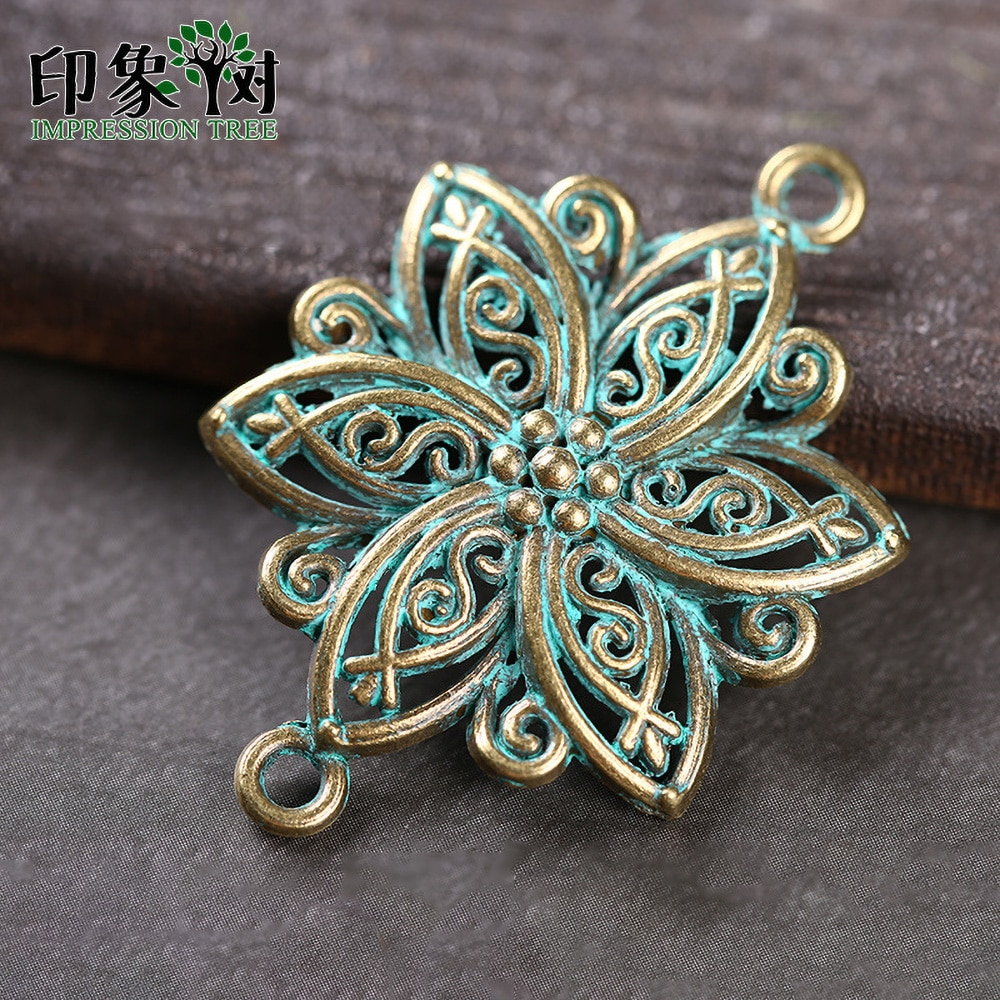 Шармы из сплава цинка в форме цветка, 5 шт., 28х40 мм, фурнитура зеленовато-медного цвета, покрытая патиной, для самостоятельного изготовления ювелирных украшений, модель 27041