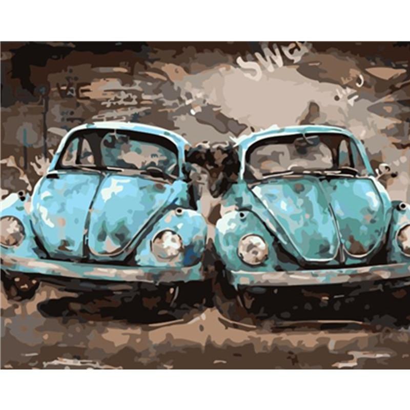 Pintura por números DIY Dropshipping. Exclusivo. 40x50x50x65cm de estilo fresco coche escarabajo lienzo de bodegón decoración de la boda regalo de arte