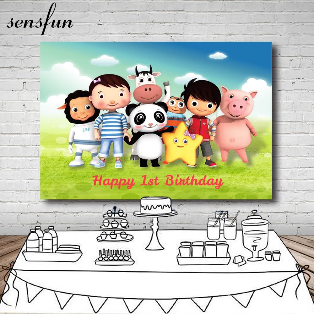 Sensfun 1st da Festa de Aniversário Do Chuveiro Do Bebê Pano de Fundo Dos Desenhos Animados Little Baby Bum 7x5FT Vinil Fundos Para Estúdio de Fotografia