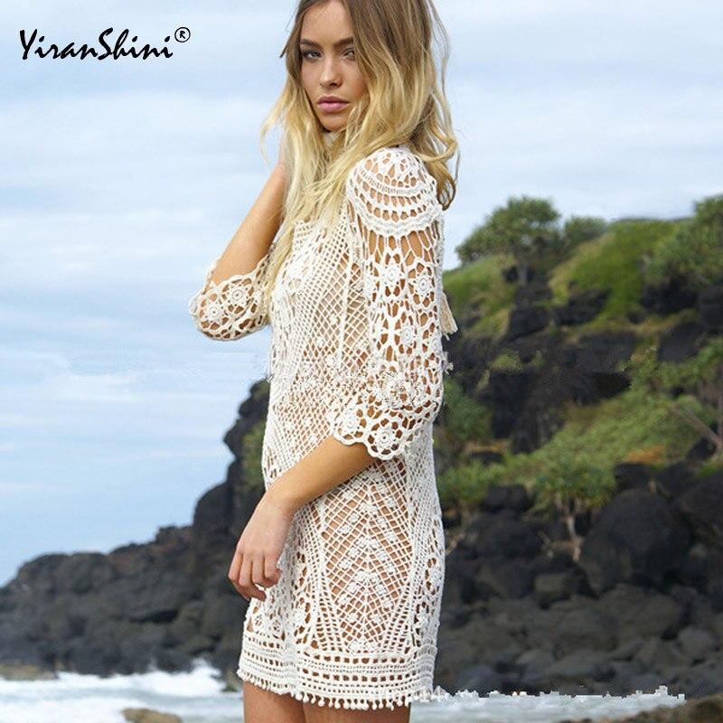 Women Tops Swimwear Beach Dress Summer Swimsuit Lace Hollow Crochet Beach Bikini Cover Up White Beach Tunic Shirt
