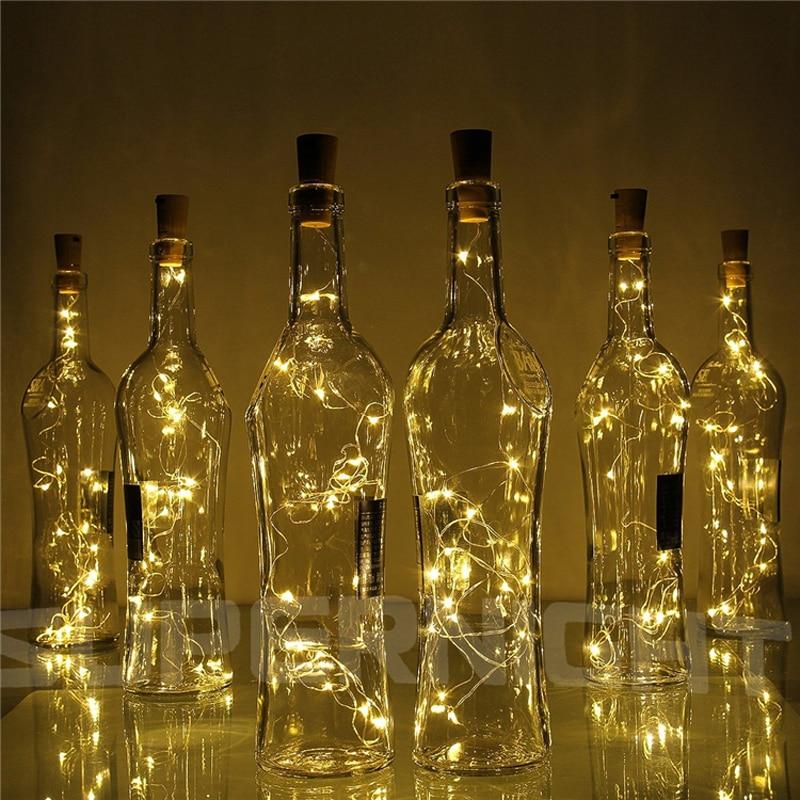 20x2 m 20-LED سلسلة أسلاك النحاس الخفيفة مع سدادة زجاجة للزجاجة الحرفية الجنية الأحبة الزفاف الديكور سلسلة أضواء