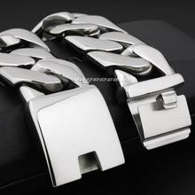 LINSION gran pesado 316L Acero inoxidable hombres pulsera Biker Punk Link cadena 5D002 envío gratis