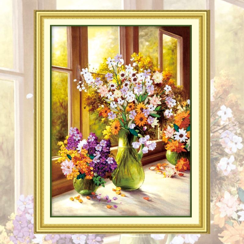 Набор для рукоделия, рукоделия и вышивки крестиком, декоративная живопись 3D цветной HD рисунок для шитья цветов, C-0016