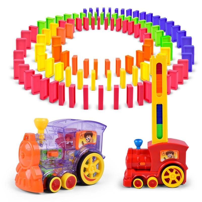 Brinquedos de carro dominó trem modelo de carro brinquedos conjuntos automáticos até 60 pçs colorido dominó blocos jogo com carga cartucho brinquedos para menina menino