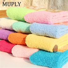 Cute Socks Women Bed Socks Pure Color Fluffy Warm Winter Kids Gift Soft Floor Home Accessories Funny
