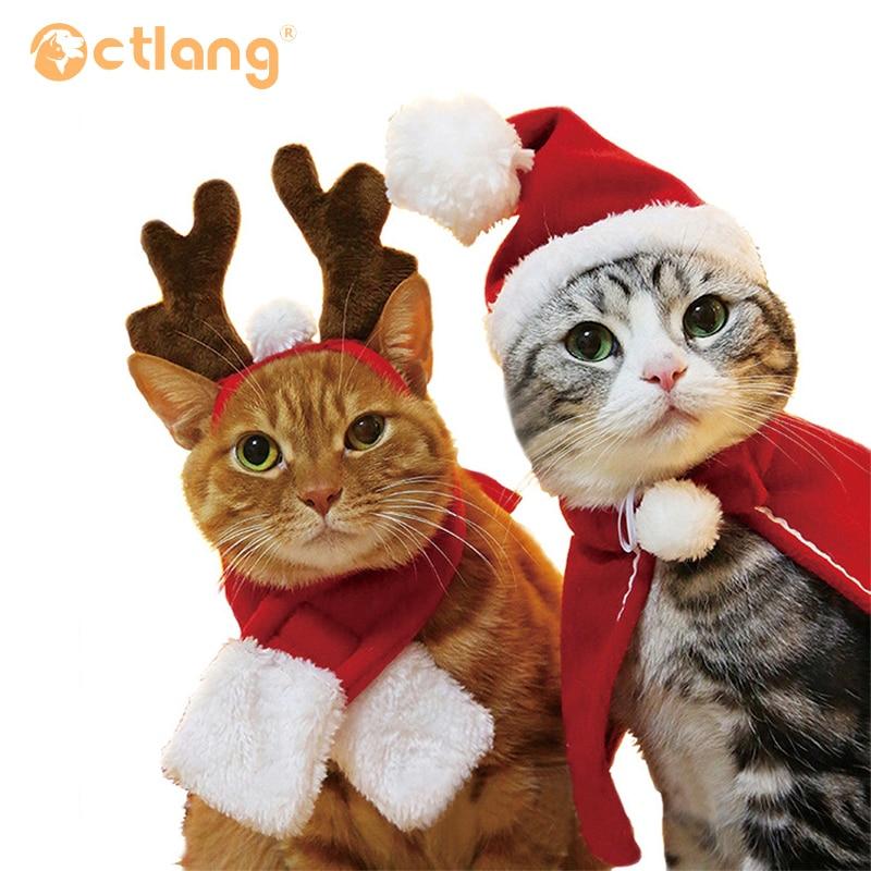 Capa de Año Nuevo, ropa de Navidad, Gato de algodón, sombrero para perro, Tiara, bufanda, capa, vestido