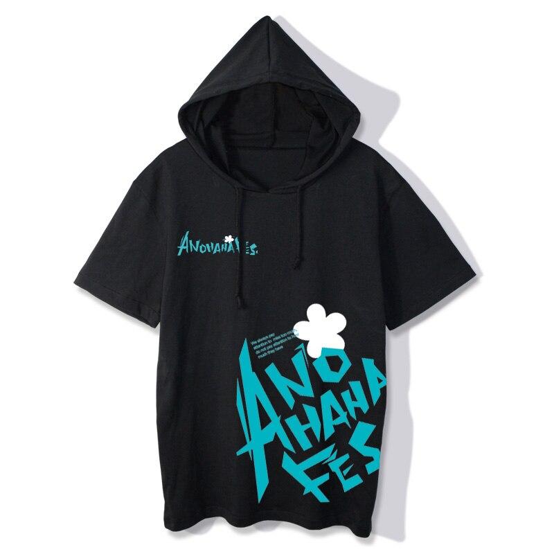 Nueva Anohana, camiseta de manga corta con capucha, camiseta Casual de verano para mujeres y hombres, cinta Honma Yadomi, cosplay de Meiko, camisetas de algodón