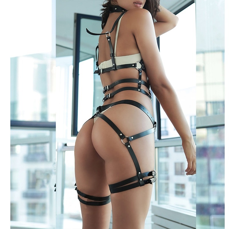 Women 2pcs/set Bdsm Bondage Belt Sexy Garter Belts Leather Harness Underwear Suspender Lingerie Garter Belt Set Thigh Harness
