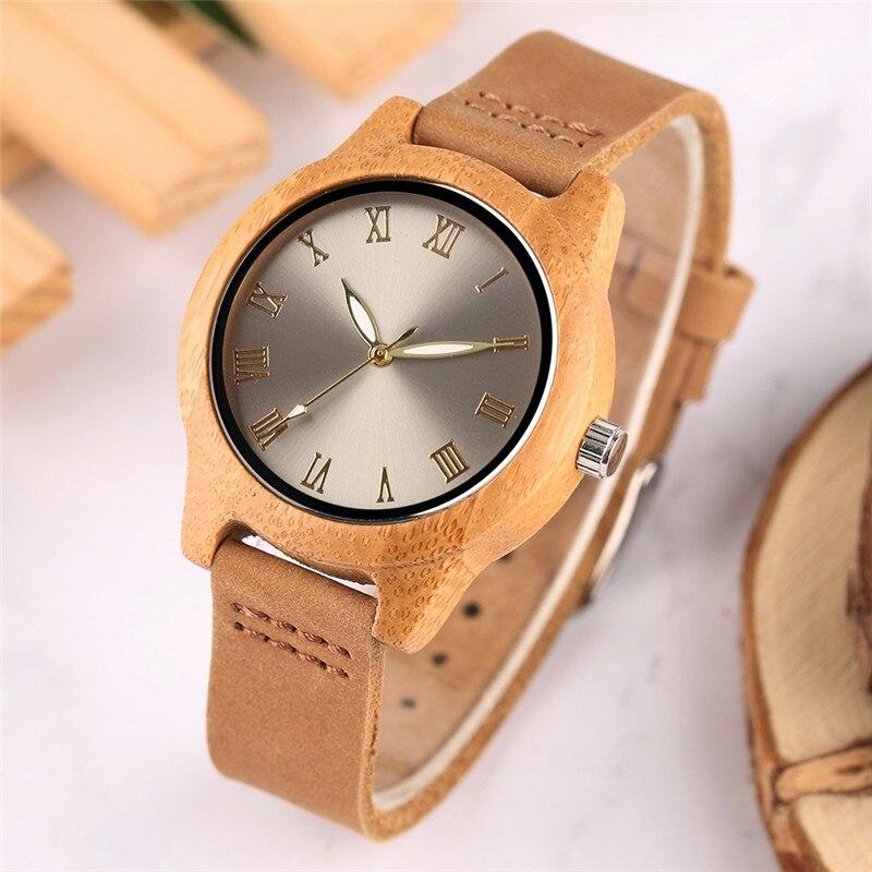 Reloj de bambú natural para mujer, reloj de cuarzo creativo con esfera de Oro fino, reloj de pulsera de cuero genuino para mujer, reloj de madera a la moda para regalo