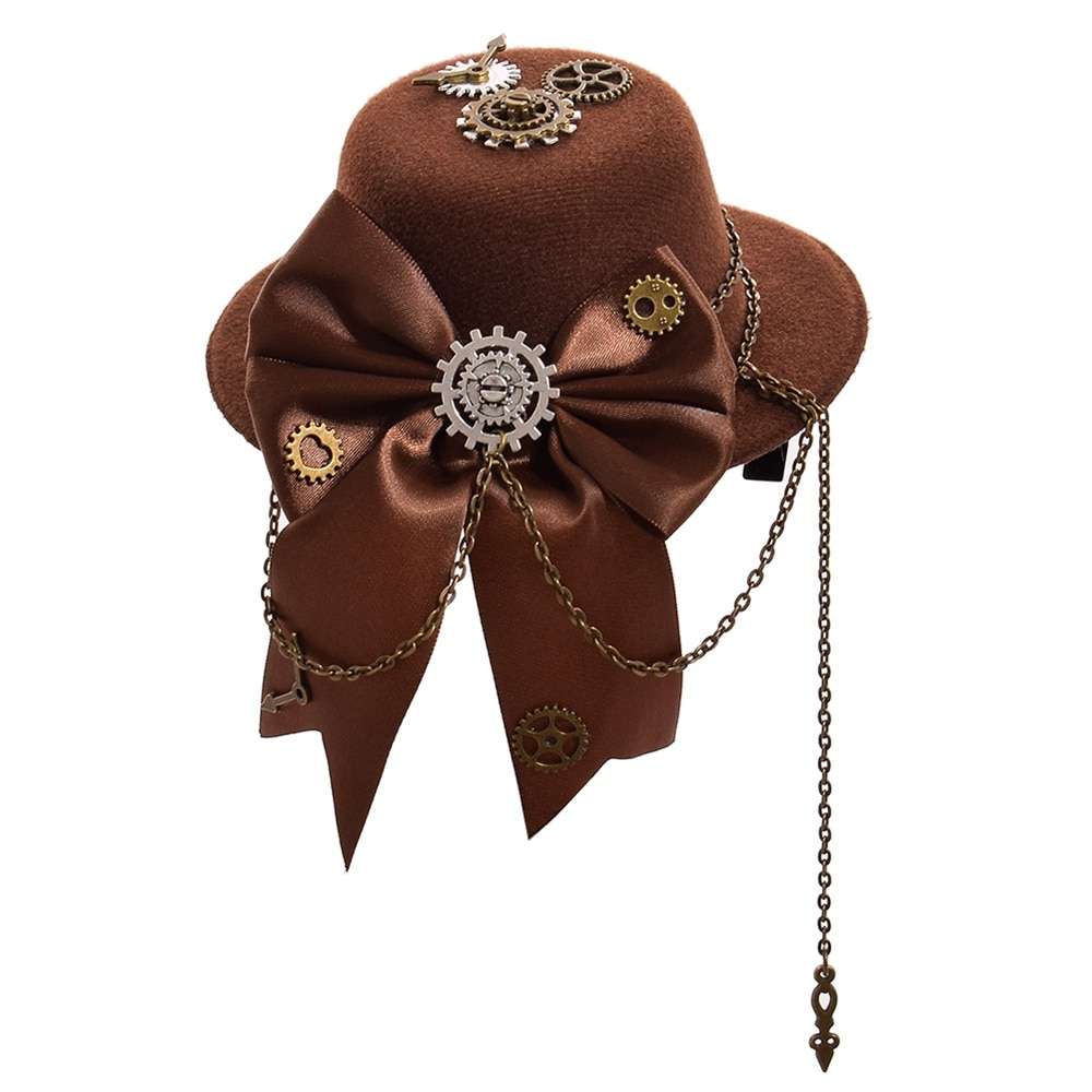 Grampos de cabelo para mulheres vintage lolita engrenagem arco-nó marrom mini topo chapéu grampo de cabelo garra headwear