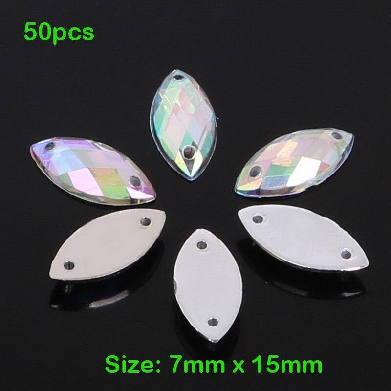 50 unids/lote 7mm * 15mm Ojo de caballo piedra de cristal coser en diamantes de imitación 2 agujeros plata Flatback acrílico joyería para la ropa de vestido de boda