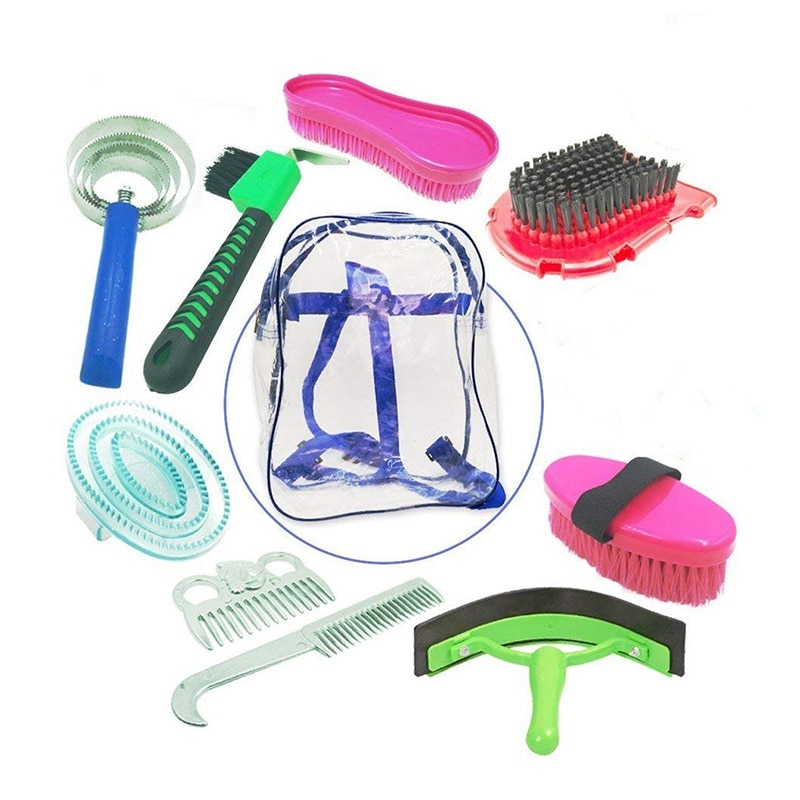 10 In 1 Horse Cleaning Set Equestrian Scraper Comb Water Wiper & Hoof Horse Cleaning Grooming Accessories Tools