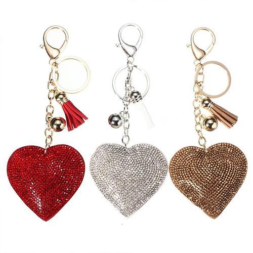 Romantic Dazzling Rhinestone Love Heart Charm Pendant Fringe Keychain Keyring Charm Bag Auto Pendant Valentine's Day present rin