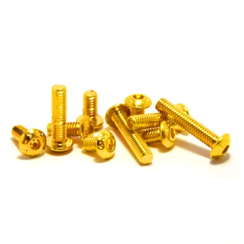 M2 x 6/8/10/12mm tornillo Allen hueco hexagonal medio tornillo de cabeza redonda Ti oro pernos dorados chapados 20 piezas