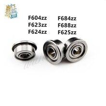 10 Uds brida rodamientos F604ZZ F623ZZ F624ZZ F625ZZ F684ZZ F688ZZ 3D piezas de impresoras de ranura profunda de la polea de la rueda de aluminio
