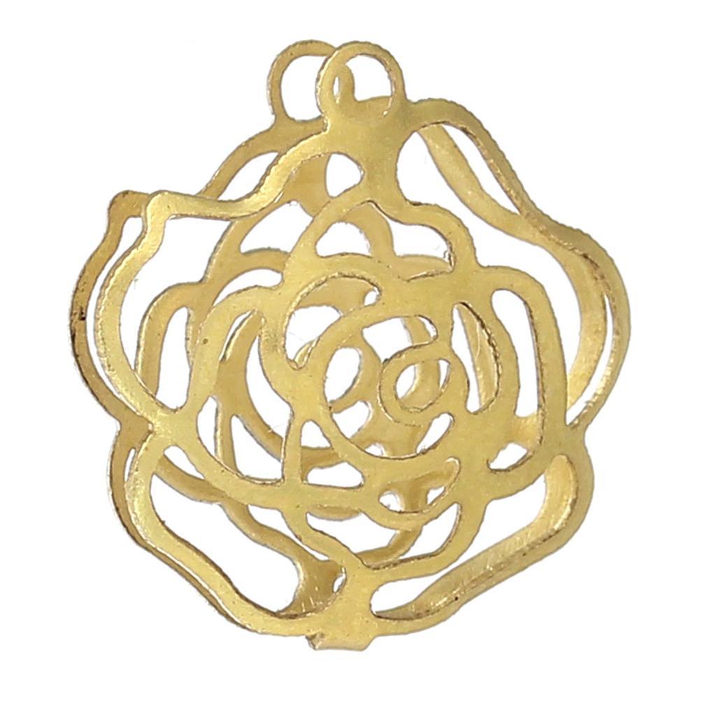 "DoreenBeads latón abalorios colgantes de jaulas en espiral flor latón tono blanco 13,0mm( 4/8 "") x 11,0mm( 3/8""), 4 Uds nuevo"