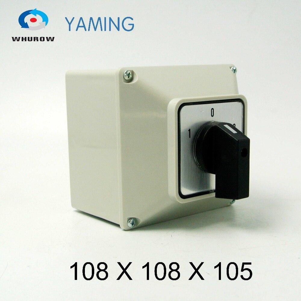 Yaming-interruptor rotativo de YMW26-32/1M, 32A, 1 polo, 3 posiciones, Caja impermeable