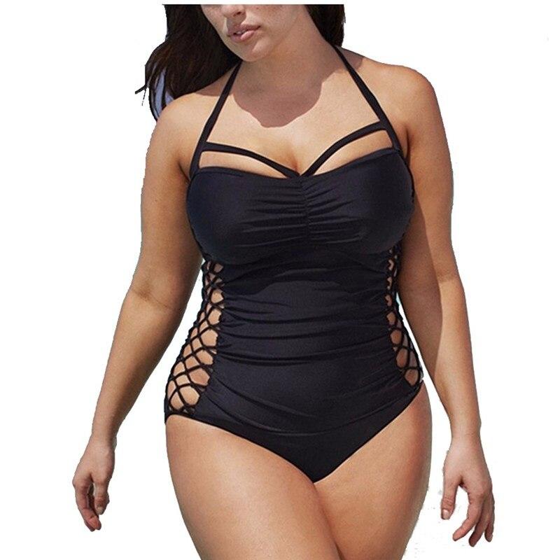 Traje de baño de talla grande 5XL para mujer, bañador de una pieza 2020 con efecto Push Up, traje de baño ajustado para Monokini, bañador Sexy