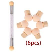 6 uds reemplazar esponjas de Dual-Flor de pluma de dibujo y puntear uñas profesional polaco herramienta de la manicura