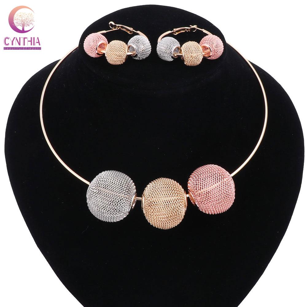 Feminino ouro cor esférica oco boho vermelho dourado cinza cristal conjuntos de jóias com brincos colar de afirmação para festa colar