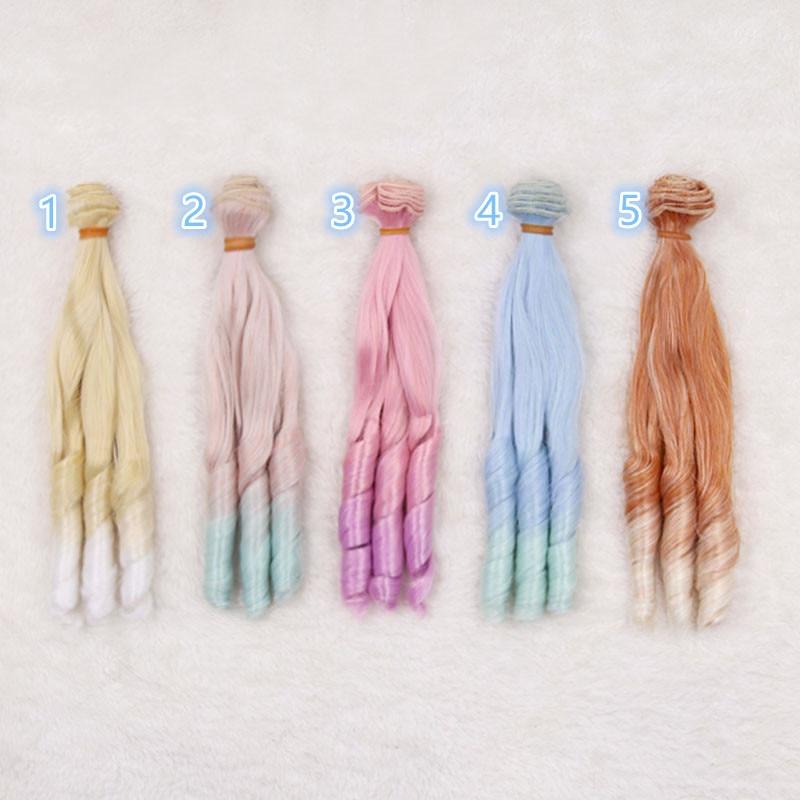 1 Uds 25cm refires BJD/SD muñeca chole pelucas DIY Fapai Roma ondas grandes Multi color pelucas Fapai color gradiente cabello