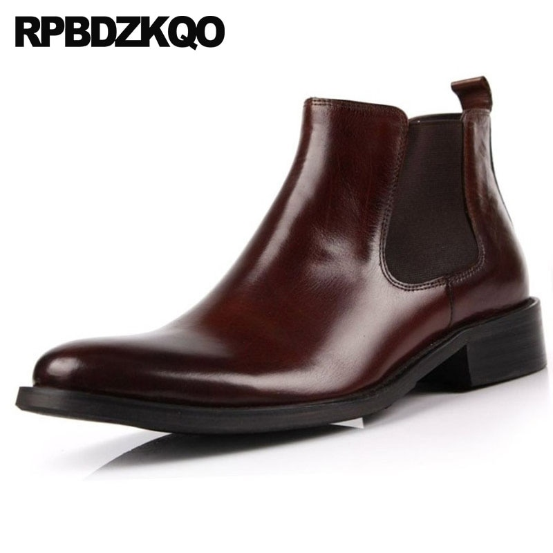 Botas de Couro Vintage Grão Cheio Coreano Chelsea Runway Homem Sapatos Booties Outono Castanho Tamanho Mais Designer Curto Tornozelo Cair 2021 Moda Masculino Confortável Topo Alto Calçado