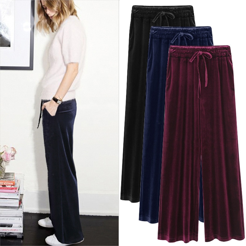 Plus tamanho das mulheres de cintura alta calças perna larga 2020 primavera outono longo solto veludo ouro calças femininas casual magro perna larga calças 6xl