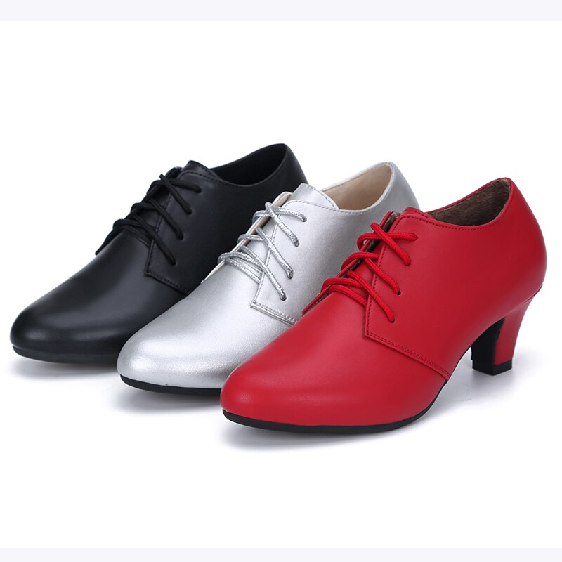USHINE 8863 Heel 5cm Black Silver Outdoor Indoor Women Breathable Modern Dance Shoes Ballroom Latin Woman Leather