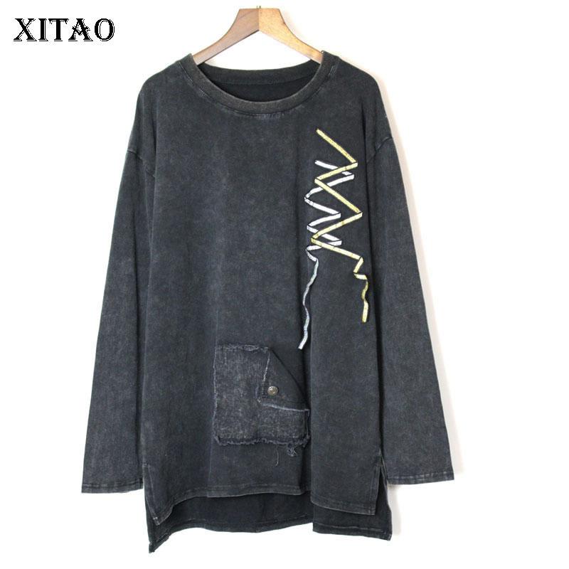 XITAO Ribbon Decoration Patch T Shirt Women Clothes 2019 Irregular Pullover Full Sleeve Tee Top Autumn Korean Fashion WLD2259