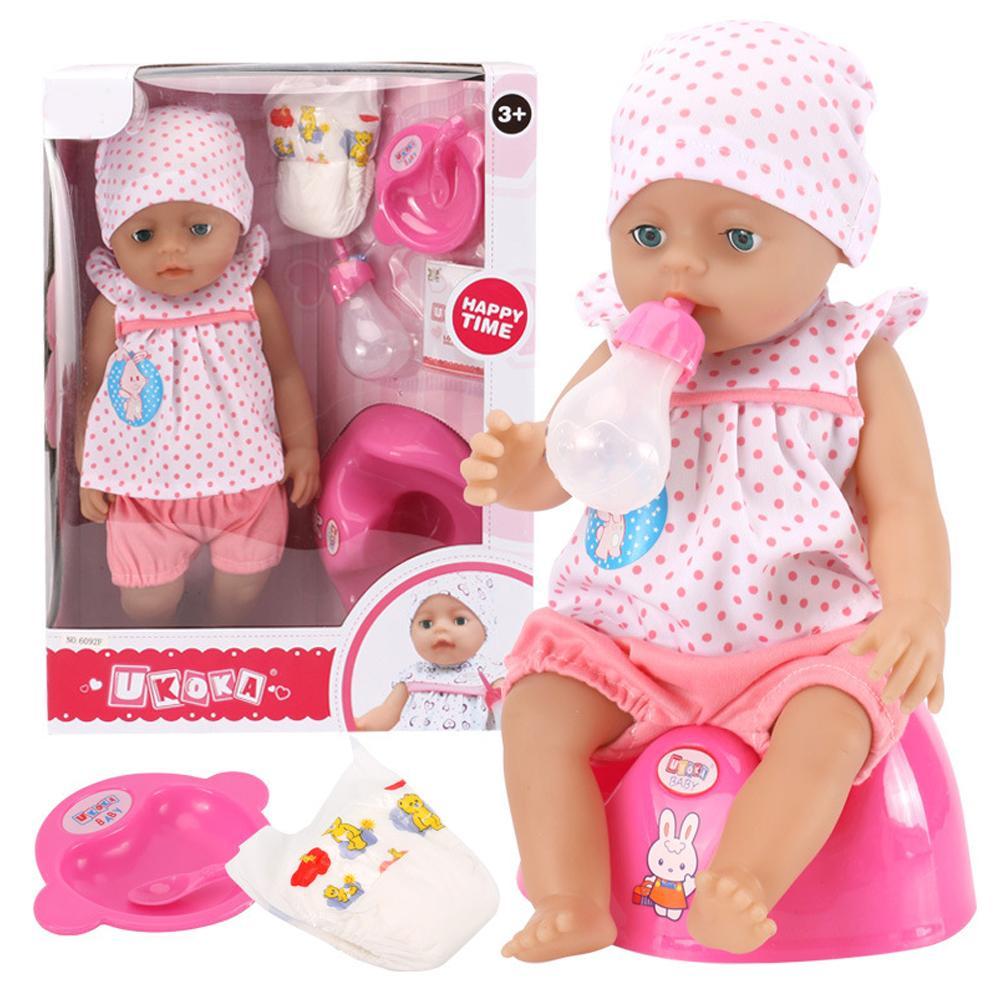 Muñeca bebé bonita juguete respetuoso con el medio ambiente innovador agua potable derramada lágrimas habla iluminación educación temprana rompecabezas muñeca