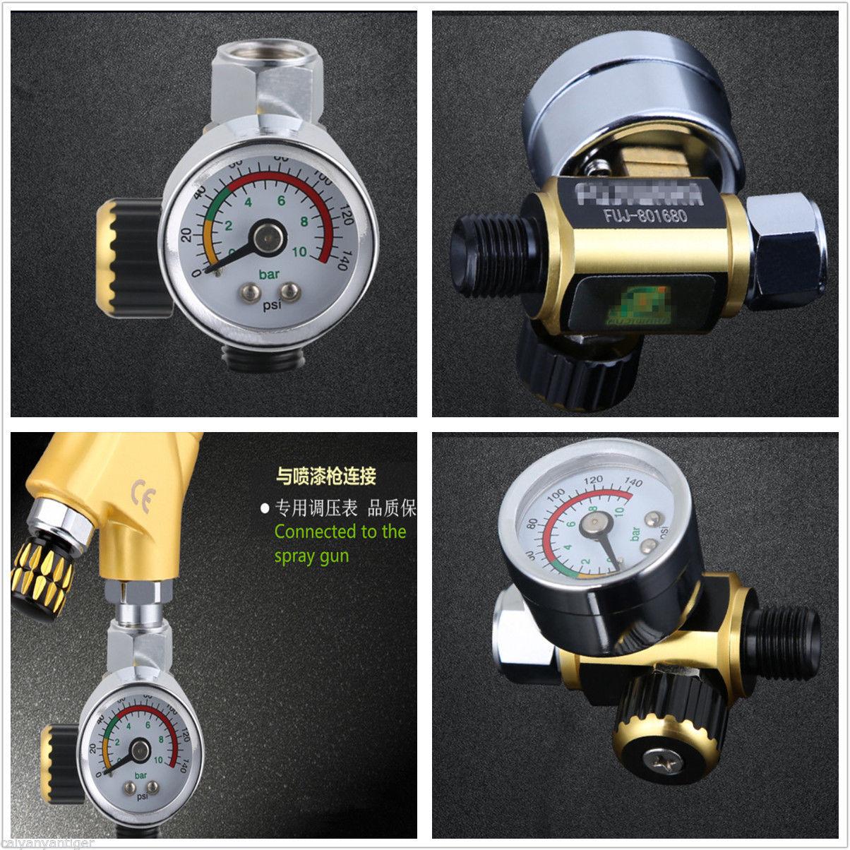 Pistola de pulverización metálica Universal regulador de presión de aire manómetro 0-010mpa G1/4 regulador de presión regulador de alivio ajustable
