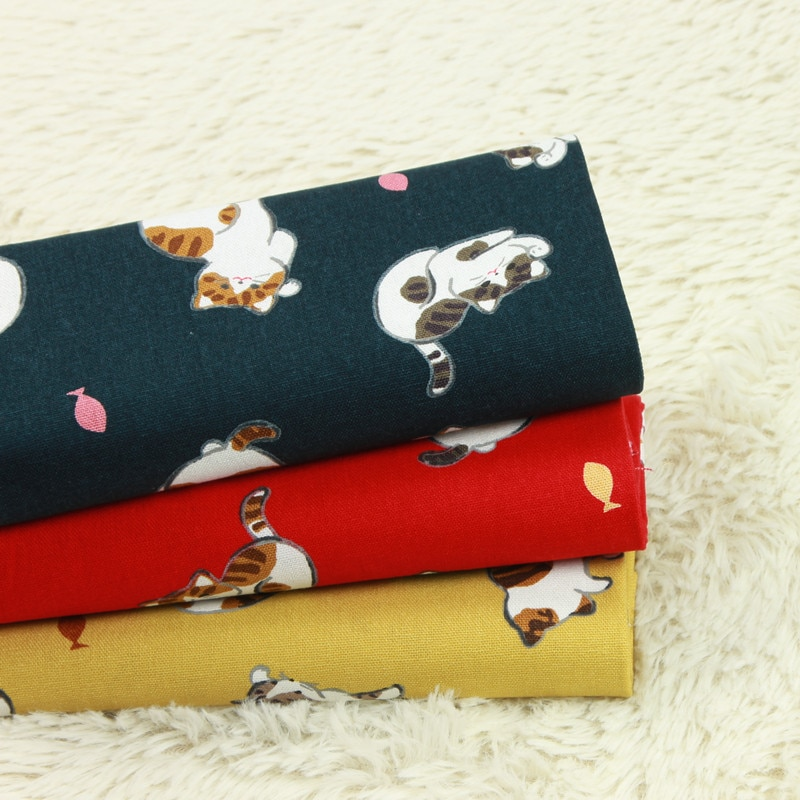 Tela de algodón gruesa de media yarda, tela antigua, tela de gato con bola de hilo, hecha a mano, DIY, bolso con cuello dorado, ropa B176