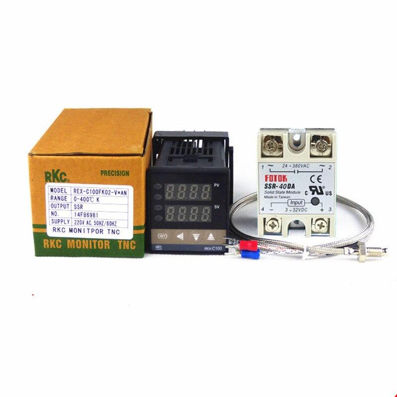 REX-C100 SSR-40DA Solid state relay 40A Intelligent PID Digital Temperature Controller K Thermocouple 1M rex c100 digital rkc pid thermostat temperature controller digital 40a ssr relay k thermocouple probe heat sink