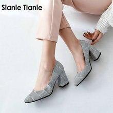 Sianie Tianie, zapatos de tacón alto con puntera a cuadros para oficina, zapatos de tacón alto para mujer, zapatos de talla grande 45 46